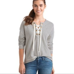 Vineyard Vines Bateau Striped Lace Up Pullover